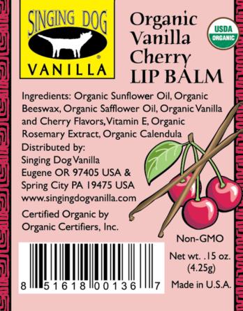 Singing Dog Vanilla LIP BALM 4.25gm – CHERRY