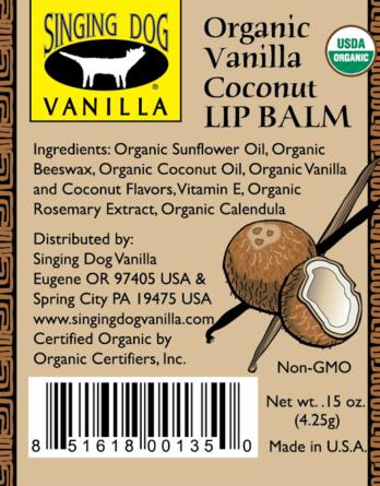 Singing Dog Vanilla LIP BALM 4.25gm – COCONUT
