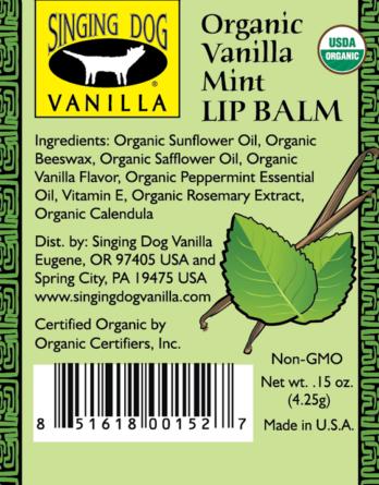 Singing Dog Vanilla LIP BALM 4.25gm – MINT